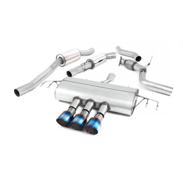 Milltek Anlage ab Kat mit Schalldämpfer für Honda Civic Type R FK8, mit ECE, Endrohre Titan Blau